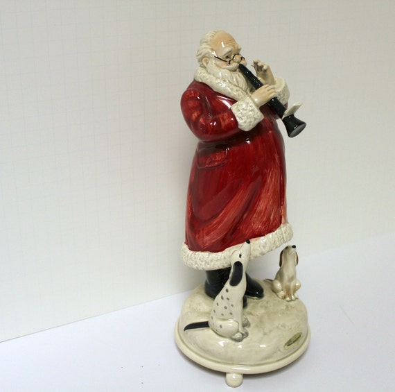 Vintage Otagiri Santa Playing Clarinet Figurine Music Box with Dogs Gibson Greetings Classic Old World
