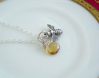 Bee Necklace, Tiny Honey Bee, Citrine Briolette Necklace, Sterling Silver Necklace, Bee Jewelry, Birthstone Necklace, November Gift