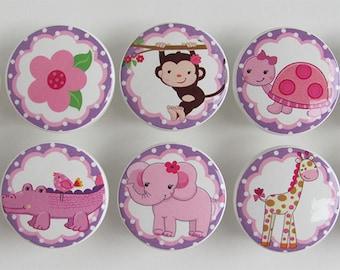 Girl's Safari Knobs, Lavender Safari Knobs, Pink and Purple Safari Drawer Knobs, Safari Animals-  Wood Knobs- 1 1/2 Inches