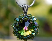 Shades Of  Green Swarovski Crystal Pendant