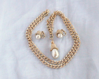Vintage Baroque Pearl Necklace Earrings Set Vintage Sarah Coventry Fashion Parade Chunky Chain