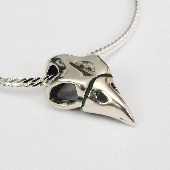 Owl Skull Necklace Tiny Owl Skull in Solid Sterling Silver Owl Skull Pendant Necklace130