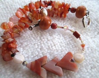 TERRACOTTA TRAILS Bracelet In Carnelian Chips, Agate, Opal, Coral, Topaz, Freshwater Pearl, Wood, Swarovski Crystals On Sterling Silver OOAK