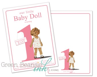 BABY DOLL or PRINCESS Printable Birthday Party Invitation Printing Available