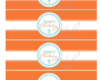 ORANGE AND TURQUOISE Printable Drink Wraps