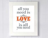 all you need is- LOVE - is all you need- Subway art print- 8x10