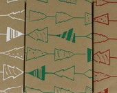 Christmas tree gift wrap paper kraft- 3 sheets in green, white and red (no accessories)