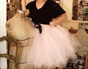 Cotton Candy  -  Light Pink Tulle Skirt - baby pink color - for teens and women - Made to order - Full and Sewn Pink Tutu