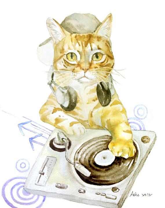 Original Watercolor Cat in 8x10