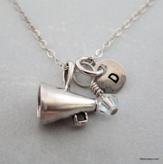 Cheerleader Gift - Megaphone Necklace - Sterling Silver Cheerleading Necklace with Hand Stamped Initial - Life Is Rosey Charm Chain