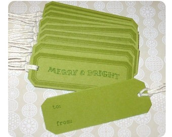 Set of 10 Stamped Green Holiday Tags - Merry & Bright