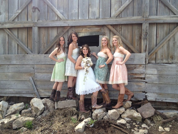 Mismatched Bridesmaid Dresses in Floral Cotton Strapless with Gathered Skirt and Ivory Bodice