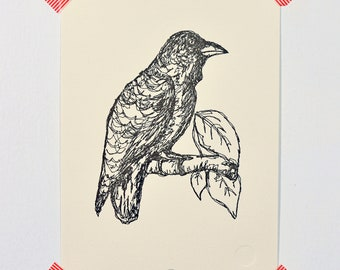 Raven (drawing in thread)- Letterpressed print