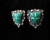 Vintage Mexican Silver Green-Carved Face Earrings