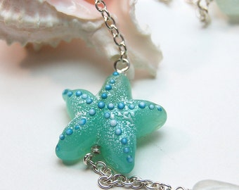 Aqua Teal Shoreline Lampwork Bead Long Necklace