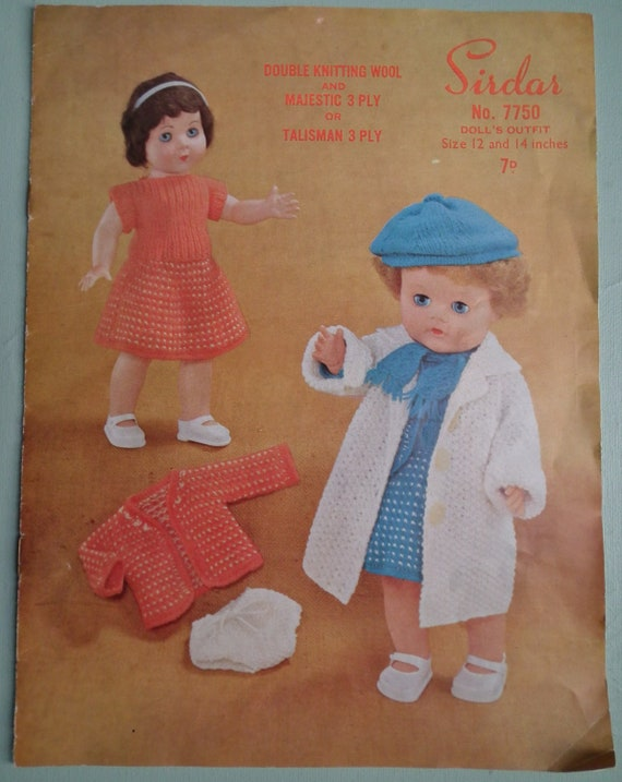 Vintage Knitting Patterns For Dolls Clothes : Dolls Clothes Vintage 1950s Knitting Pattern by ...