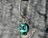 Heart Wing Skull Earrings on Handcrafted sterling silver hoops - teal