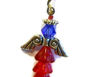 Americana Angel Earrings Swarovski crystals dangle earrings Angel wing earring Red White Blue Patriotic angel Free ShippingMade in USA