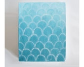 original art painting in ombre aquamarine and white scallops. aqua bright blue abstract art