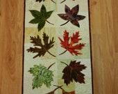 "Fall Leaf Table Runner, Quilted Batik Leaf Table Runner 14 x 34"""