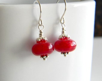 Simply Red - Red Jade and Sterling Silver Earrings
