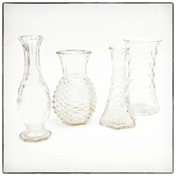Four Clear Glass Vases- instant collection