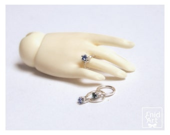 Sterling silver BJD Ring with a little zirconia Stone - custom -