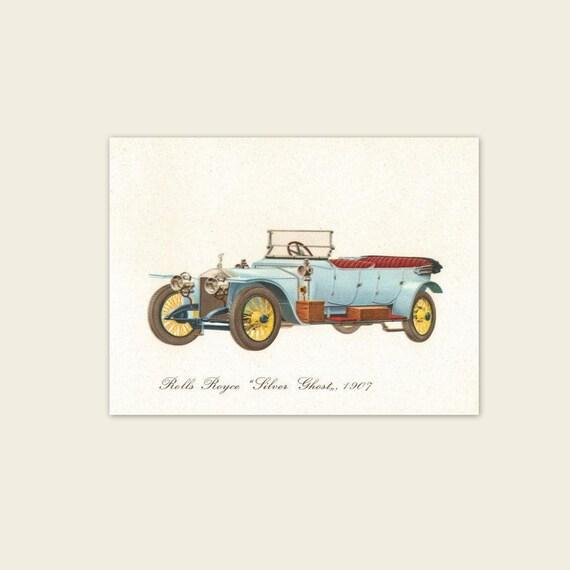 "Vintage 1960s Automobile Print. Rolls Royce Silver Ghost, 1907. 5"" x 7"". Antique Car, Transportation, Convertible, Baby Nursery. (No. 401)"