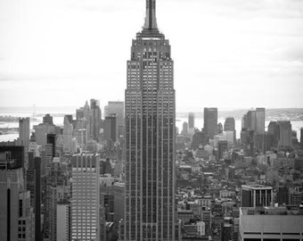 Black and White Photography, NYC Skyline, Top of the Rock, New York City Photography, Empire State, Art, NYC Decor, architecture Photo