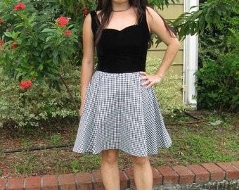 1950s Look Black Velvet with Black & White Check Skirt Dress