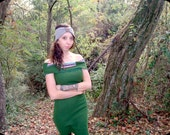 Super Green Sweater Dress with Fold Down Cowl and Print Strapless Size Medium