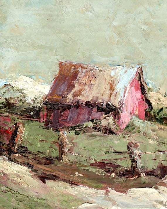 Montana Barn on Archival Paper Giclee Print  in Pinks and Greens from Original Oil Painting