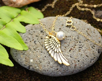 My sweet angel necklace - gold plated angel wing and pearl on 14k gold filled delicate chain - free shipping in USA - you pick color