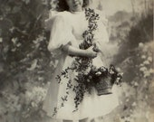 1898 Mounted Photo of Little Girl Decorated with Flowers/I'ded