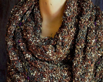 Large Triangular Scarf, Brown and Charcoal Grey Colors, Exquisite, No-Scratch, Handknit, 86 inches long