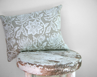 Winter white passion flower hand block printed on warm gray linen home decor decorative pillow case