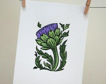Artichoke original gardening art hand painted botanical home decor block print