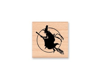 Halloween Witch Rubber Stamp~Witch Sillhouette~DIY Party Favor ~DIY Halloween Decor~Favor and Treat Bag Stamps~Wood Mounted Stamp (17-08)