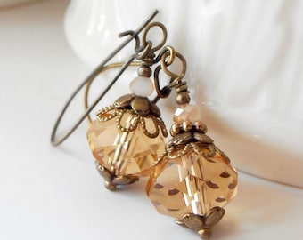 Gold Crystal Bridesmaid Jewelry Rustic Wedding Bridal Party Earrings Antiqued Style Bridesmaid Dangles Beaded Jewellery Handmade
