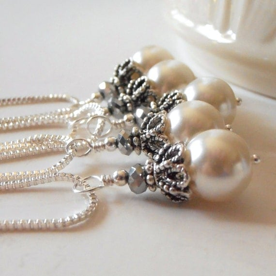 Ivory Bridesmaid Necklaces Pearl Wedding Jewelry By FiveLittleGems