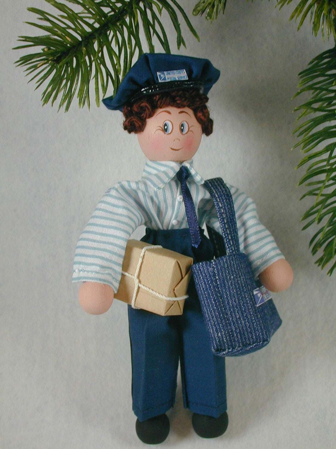Postal Person Clothespin Doll Ornament Mail Carrier Ornament