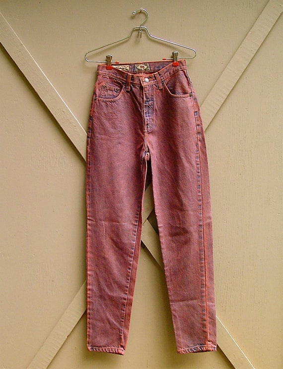 80s vintage Plum Overdyed Express High Waist Skinny Jeans