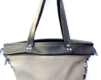 Leather Extra Large Tote, Shoulder Bag, Grey and Black