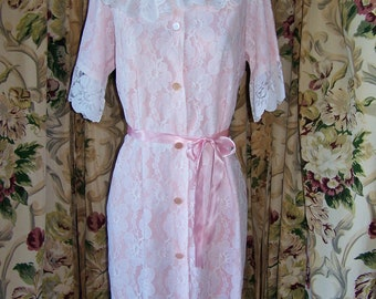 Victorian Lace Robe, Pink lace robe, Romantic Robe, Womens lingerie robe, size M