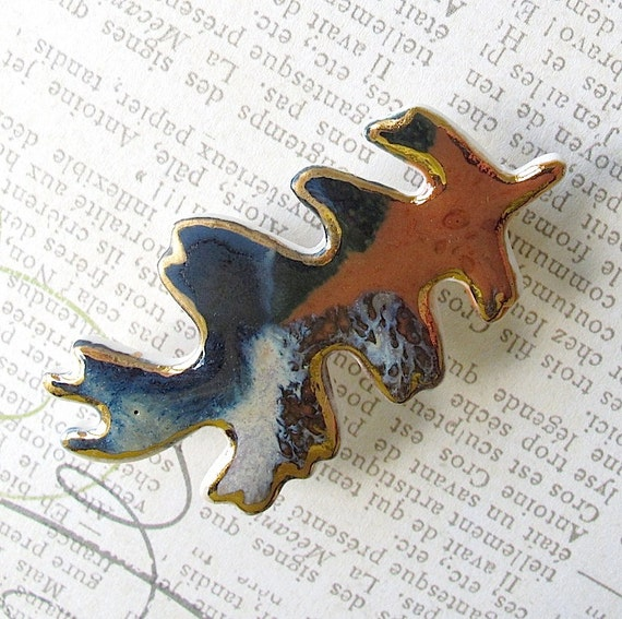 Porcelain Oak Leaf Brooch: Rust,  Blue-Green, Tan, Brown & Denim Blue with 22K Gold Decoration. Sienna. Teal. Khaki. Beige. Woodland Jewelry