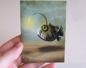 "ACEO ATC Angler Fish Print Artists Trading Card ""Mr. Fishy on His Own"" Mini Premium Giclee Print 2.5x3.5 Underwater Sea Monster Green Yello"