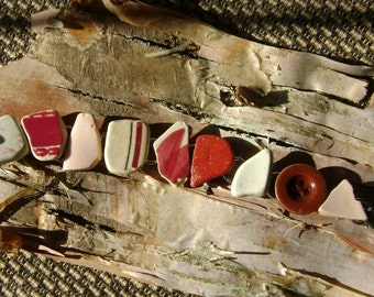 Pink pottery artifact bracelet