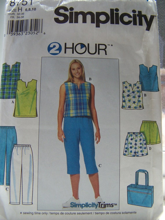 CLEARANCE Simplicity 8751 2-Hour Sewing Pattern - Misses' Top, Pants, Shorts and Tote Bag, Easy Sewing Pattern