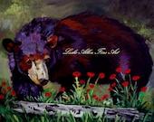 "Bear Art Print Bears Cub Cubs Black Bear Poppy Poppies Art Print Giclee Aspen Wildlife ""Bear Retreat""  Painting Print Leslie Allen Fine Art"