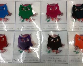 Owl Brooch - Laser Cut Acrylic
